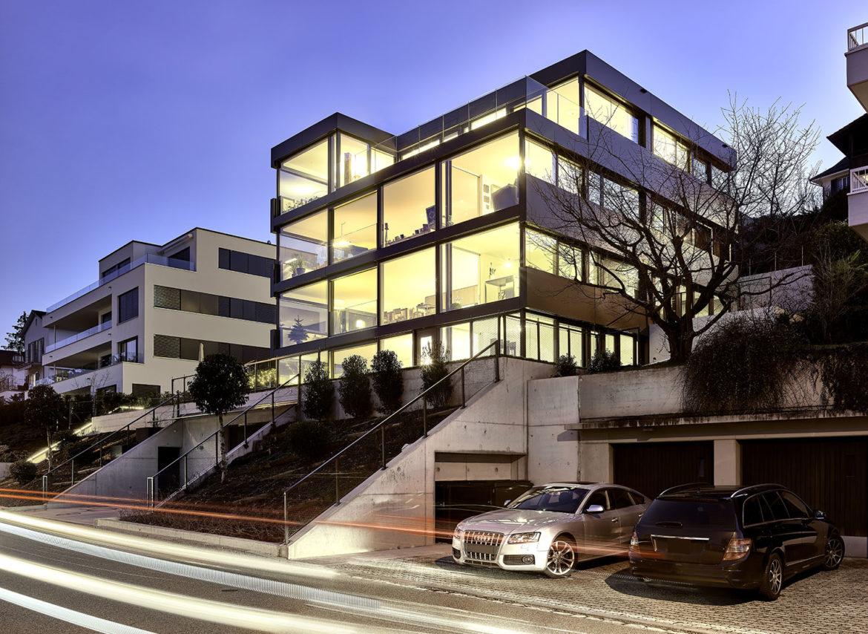 Haus, Zürichsee, Architekturfotografie, Twilightfotografie, Innenraumfotografie